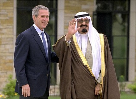 Bush and Abdullah of Saudi Arabia. Saudi Arabia is a key U.S. ally in the Middle East. Saudi Crown Prince Abdullah and George W. Bush.jpg
