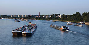 Transport in Europe - Ships on the Rhine at Cologne.