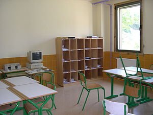 English: School, Classroom. Lezo Public school...