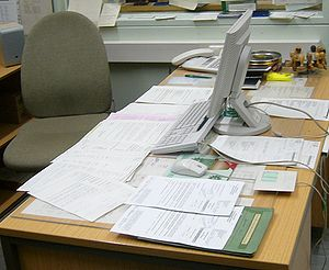 A desk in an office.