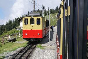 Schynige Platte Railway - Trains pass at Breitlauenen