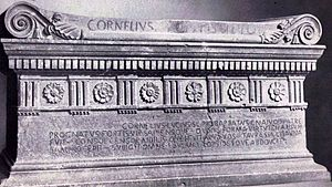 Saturnian (poetry) - The tomb of Lucius Cornelius Scipio Barbatus, erected around 150 BC, contains an Old Latin inscription in Saturnian meter.