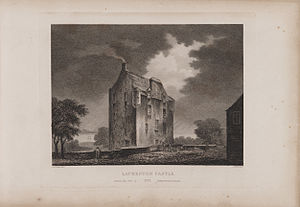 Lauriston Castle - Engraving of the castle by James Fittler in Scotia Depicta, published 1804