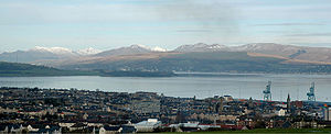 Tail of the Bank - Looking north from Greenock over the Tail of the Bank today, the container cranes of Ocean Terminal can be seen to the right, while on the other side of the Firth of Clyde the waters of the Gare Loch are just visible beyond the tail of the Rosneath peninsula.