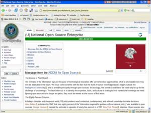 Intellipedia - A screenshot of the Intellipedia interface