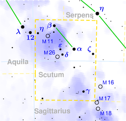 Map of Scutum constellation