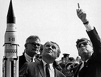 Seamans, von Braun and President Kennedy at Cape Canaveral - GPN-2000-001843.jpg
