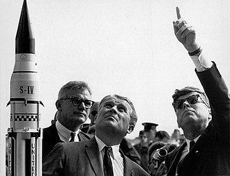 Saturn I - Von Braun, with JFK pointing at Saturn I at Cape Canaveral on November 16, 1963, weeks prior to its launch