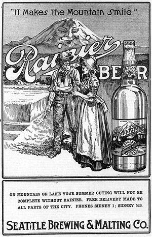 Rainier Brewing Company - 1912 Rainier ad in The Seattle Republican newspaper.