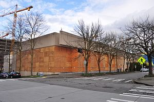 Seattle Times Building - The building in 2016, boarded up in preparation for demolition