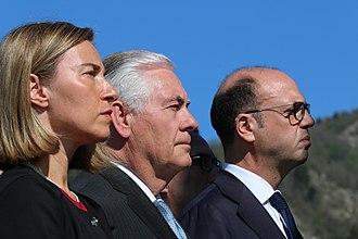 Angelino Alfano - Alfano with U.S. Secretary of State Rex Tillerson and E.U. High Representative Federica Mogherini in Sant'Anna di Stazzema, April 2017.