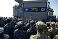 Secretary of Defense Chuck Hagel, at lectern, speaks to troops and merchant mariners aboard the afloat forward staging base USS Ponce (AFSB(I) 15) in Bahrain Dec. 6, 2013 131206-D-BW835-175.jpg