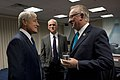 Secretary of Defense Chuck Hagel speaks with U.S. Congressman Buck McKeon, April 10, 2013, at the Pentagon.jpg