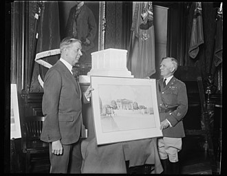 Tomb of the Unknown Soldier (Arlington) - Secretary of War Dwight F. Davis (left) and Major General B. F. Cheatham, Quartermaster General of the U.S. Army, inspect the accepted model and design for the completion of the Tomb of the Unknown Soldier (1928). The design by sculptor Thomas Hudson Jones and architect Lorimer Rich was selected after a competition in which 73 designs were submitted.