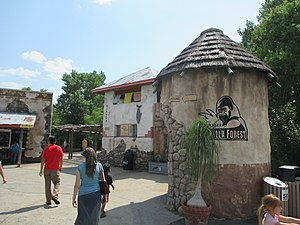 Sedgwick County Zoo - African village-themed area at the entrance to Downing Gorilla Forest