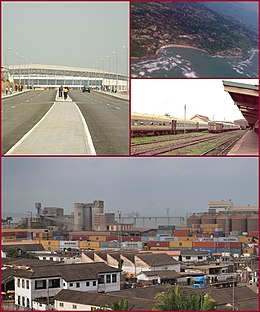 Top left picture: Arterial road and highway with the Sekondi-Takoradi Stadium, First top right picture: Shoreline of Sekondi-Takoradi, Second top right picture: Railway station of Sekondi-Takoradi, Bottom picture: Sekondi-Takoradi harbour with intermodal containers and private housing estates.