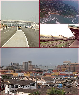 Sekondi-Takoradi - Top left picture: Arterial road and highway with the Sekondi-Takoradi Stadium, First top right picture: Shoreline of Sekondi-Takoradi, Second top right picture: Railway station of Sekondi-Takoradi, Bottom picture: Sekondi-Takoradi harbour with intermodal containers and private housing estates.