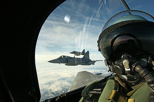 Selfie in a Czech Saab Gripen as it patrols Icelandic airspace