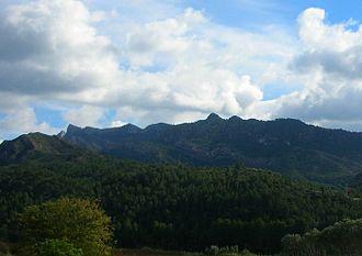 Cardó Massif - Serra de Cardó mountain range seen from the south near Benifallet