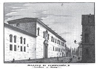 Palazzo Schifanoia - Palazzo Schifanoia in 1838