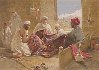 Cashmere wool - An 1867 William Simpson painting depicting men manufacturing shawls using pashm wool