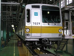 Tokyo Metro Yūrakuchō Line - A 7000 series undergoing inspection at Shin-Kiba Depot