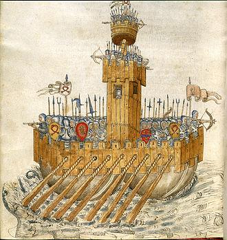 De re militari - Ship with armed soldiers - De re militari (15th century), f.231v - BL Add MS 24945