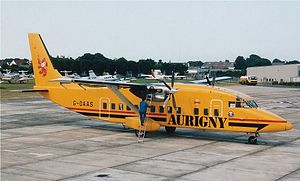 Aurigny - A Short 360 at Guernsey Airport in July 1995. The airline no longer operates the type