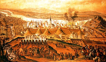 Retaking of Buda from the Ottoman Empire, 1686 (17th-century painting) Siege of Buda 1686 Frans Geffels.jpg
