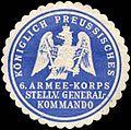 Siegelmarke Königlich Preussisches 6. Armee - Korps - Stellvertretendes General - Kommando W0238258.jpg