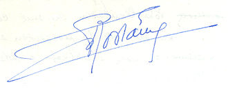Charles Rostaing - Signature of Charles Rostaing (1904-1999) on 13 December 1984.