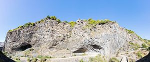"Garni Gorge - Garni Gorge and the ""Symphony of the Stones"" basalt column formations along the cliff side."