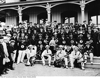 George Horace Gooderham - Sir Thomas Lipton (4) at the Royal Canadian Yacht Club in 1903, with Commodore Aemilius Jarvis (5), Vice-Commodore Stephen Haas (3), and George H. Gooderham (6).
