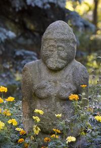 "Kurgan stele in Kharkiv, locally called Skifska baba ""Scythian baba""."