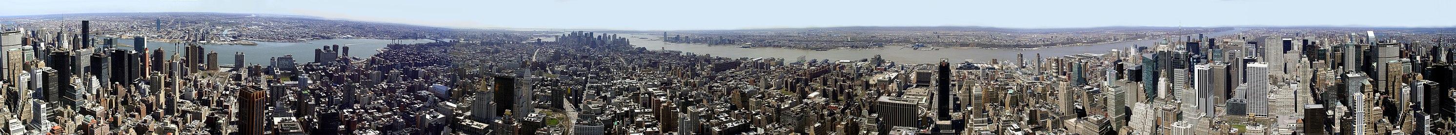 Панорамный снимок 360° Нью-Йорка со здания Эмпайр-стейт-билдинг весной 2005 года
