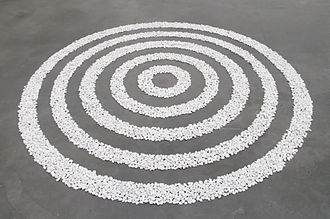 Richard Long (artist) - Small White Pebble Circles, Tate Modern, London (1987)