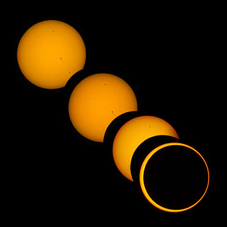 Solar eclipse - Partial and annular phases of solar eclipse on May 20, 2012