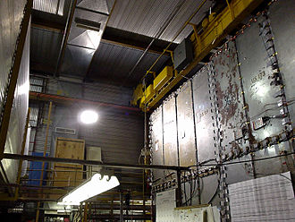 Soudan 2 - On the right is the front wall of the Soudan 2 detector.  The corrugated walls seen on the left, center and top of the image are parts of its veto shield.