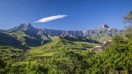 Drakensberg, the eastern and highest portion of the Great Escarpment which surrounds the east, south and western borders of the central plateau of Southern Africa South Africa - Drakensberg (16261357780).jpg