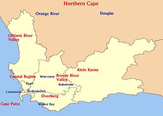 South African wine - General location of some South African wine regions
