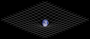 Two-dimensional projection of a three-dimensional analogy of space-time curvature described in General Relativity.