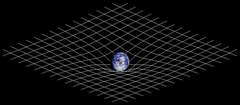 To δισδιάστατο ανάλογο παραμόρφωσης του χωρόχρονου. Η παρουσία ύλης αλλάζει τη γεωμετρία του χωρόχρονου, η οποία ερμηνεύεται ως βαρύτητα.