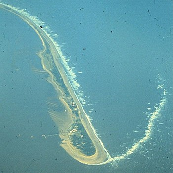 English: Spurn Pilot Jetty (1979) From the air...
