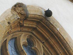 Rheda-Wiedenbrück - Bullet damage from the Thirty Years' War at Saint Aegidius church