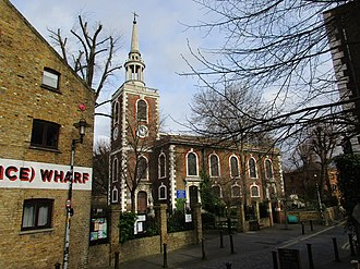 Rotherhithe - Image: St. Mary's Church, Rotherhithe in February