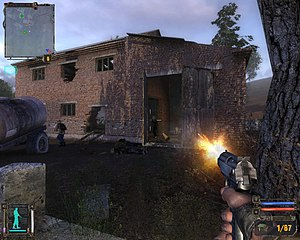First-person (video games) - A screenshot from S.T.A.L.K.E.R.: Shadow of Chernobyl, a shooter game played from the first-person perspective
