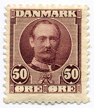 Postage stamps and postal history of Denmark - 50-øre stamp of Frederick VIII.