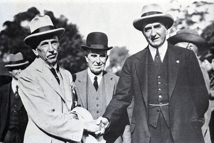Billy Hughes, Herbert Pratten and Stanley Bruce Stanley Bruce and Billy Hughes, 1925.png