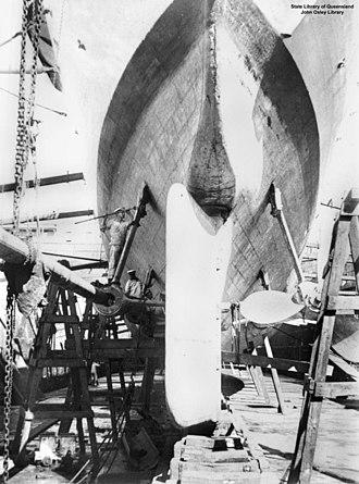 Bussard-class cruiser - Cormoran in drydock in Sydney showing the arrangement of the screws and rudder