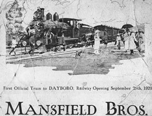 Ferny Grove railway line - Ad for the opening of the line to Dayboro, 1920